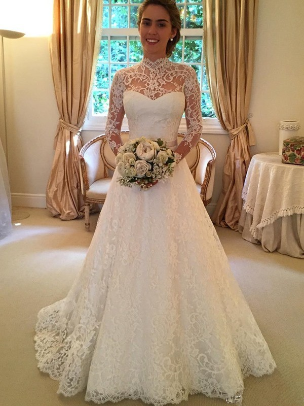 A Line High Neck Lace Weddding Dresseslong Sleeves Lace Bridal