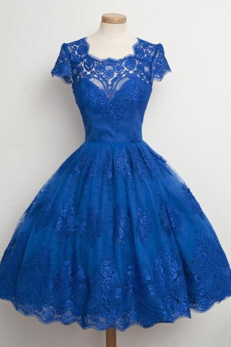 Royal Blue A-line Short Sleeves Lace Prom Dresses,Knee length Homecoming Dresses,Short Party Dresses,Short Lace Dresses,Cocktail Dresses