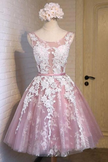 Pink Lace Appliquéd Sleeveless Scoop Neck Knee Length Tulle Homecoming Dress Featuring Lace-Up Back