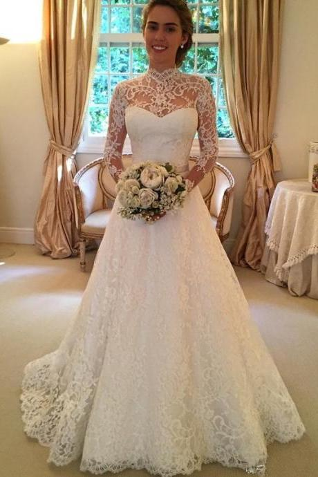 A-line High Neck Lace Weddding Dresses,Long Sleeves Lace Bridal Dresses,Sheer Lace Wedding Gowns,Sweetheart Bridal Gowns,Chapel Train Keyhole Lace Tulle Wedding Dresses