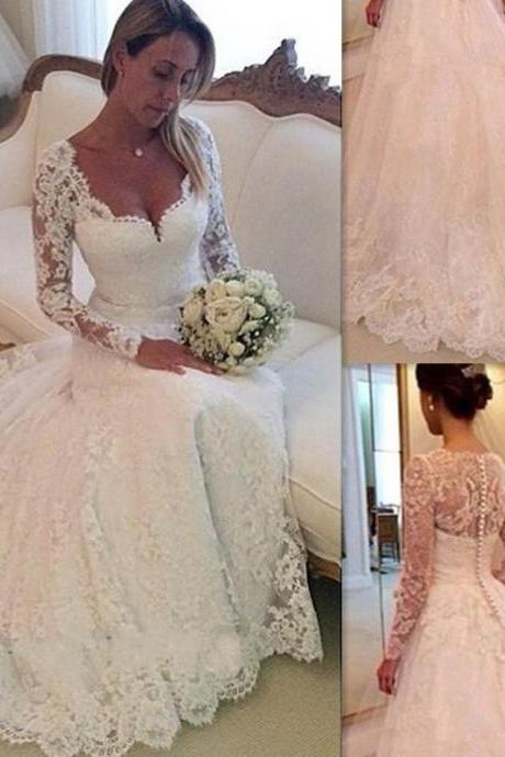 A-line Sweetheart neckline Long Sleeves Lace Wedding Dresses,Lace Bridal Dresses,Lace Wedding Gowns,Chapel Train Bridal Gowns