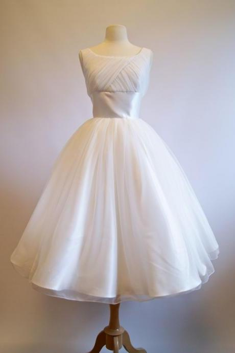 Sleeveless Ruched Organza Short Tea-Length Vintage Wedding Dress