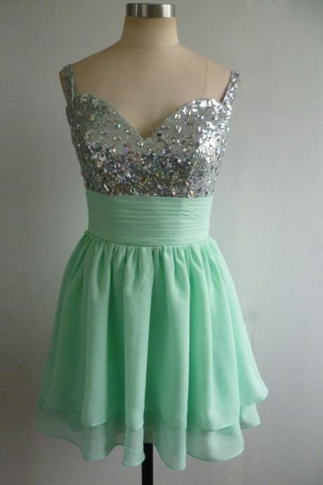 Spagetti Strap Chiffon Homecoming Dresses,Mint Green Homecoming Dresses,Sequin Homecoming Dresses,Beaded Chiffon Homecoming Dresses,Column Homecoming Dresses,Cheap Homecoming Dresses,Homecoming Party Dresses For Girls,V-neck Homecoming Dresses,Homecoming Dresses Custom Made,High Quality Homecoming Dresses,Short Prom Dresses,Knee length Homecoming Dresses