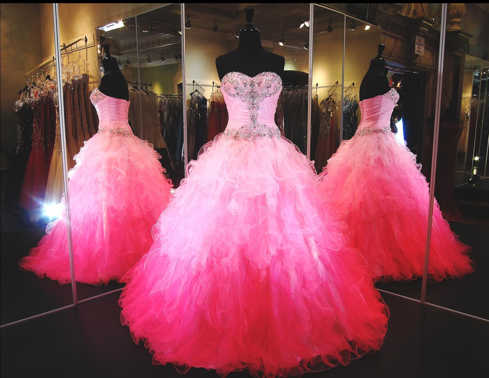 481ea970a1d Fuchsia Sweetheart Ruffles Ombre Ball Gown Prom Dresses Quinceanera Dress  on Luulla